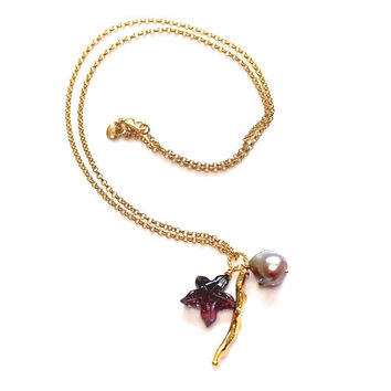 """Carved Tourmaline Necklace Purple Starfish Gold Coral Mauve Baroque Pearl 18"""" Charm Gemstone Jewelry"""