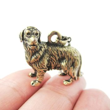 Realistic Golden Retriever Puppy Dog Necklace in Brass | Jewelry for Dog Lovers