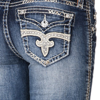 Rock Revival Jillian Rhinestone Pocket Denim Capris