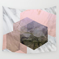 Marble Exagonal Collage Wall Tapestry by Cafelab