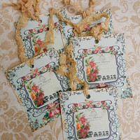 Paris Gift Tags French Gift Tags Seam Binding Ribbon Tags Carte Postale