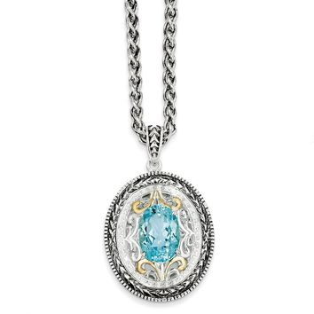 Sterling Silver Two Tone Silver And Gold Plated Sterling Silver w/Swiss Blue Topaz & Diamond Necklace