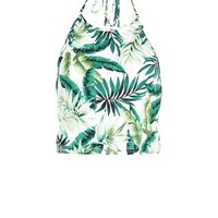 White Palm Leaf Print Halter Neck Crop Top