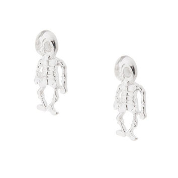 Halloween Silver Skeleton Front and Back Earrings