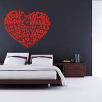 Heart of Words Decal, Heart Decal, Heart Sticker, Heart of Love in different languages
