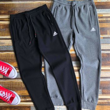 """""""Adidas """" Unisex Casual Letter Simple Print Pocket Draw String Sweatpants Couple Thickened Leisure Pants Trousers"""