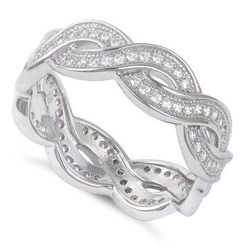 Romantic Italian Scroll 2.35TCW Russian Lab Diamond Eternity Ring