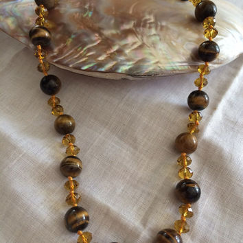 Tiger eyes hand made necklace with crystal beads beadwork necklace original design excellent Mother's Day Easter birthday gift hand made
