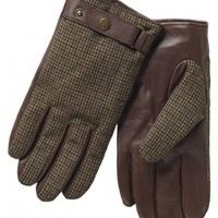 Leather gloves with wool top