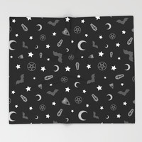 goth occult pattern Throw Blanket by deadimage