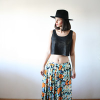Flower skirt Gipsy flower pattern Colorful pattern blue orange black skirt 70s (S/M)