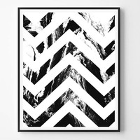 Chevron print, Geometric Print, Modern Minimalist Print, Black and White abstract, Printable wall art, Instant Download, Scandinavian print