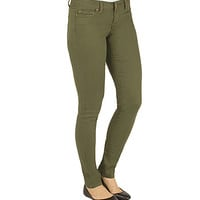 Girls Super Skinny Army Green Jeans