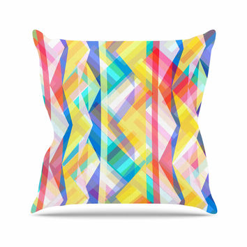 "Miranda Mol ""Triangle Rhythm"" Pastel Geometric Outdoor Throw Pillow"
