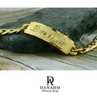 Royal Nameplate Bracelet, Sterling Silver, Yellow Gold Plated, Personalized, Hand Engraved Letters in English, BR002B
