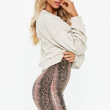 Missguided - Rose Snake Skin Cycling Shorts