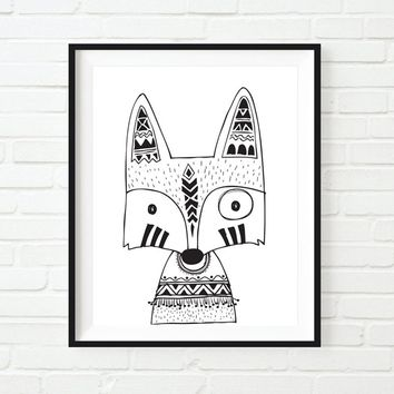 Nordic Monochrome Tribal Fox Nursery Wall Art Print  Kids Bedroom Wall Hanging Art Picture Decor Animal Art Painting No Frame