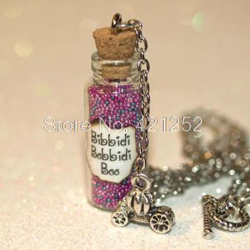 12pcs Bibbidi-Bobbidi-Boo Bottle of Magic Necklace with Pumpkin Carriage Charm Cinderella Fairy necklace in silver