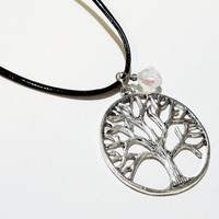 10% OFF ETSY Sale Silver Antique  Tree Of Life Round Necklace