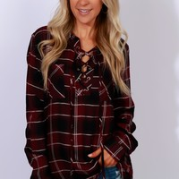 Hands Down Lace Up Plaid Top Wine