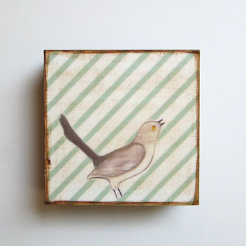 Mockingbird with Green Stripes 5x5 art block on wood nature bird pattern gray red tile studio