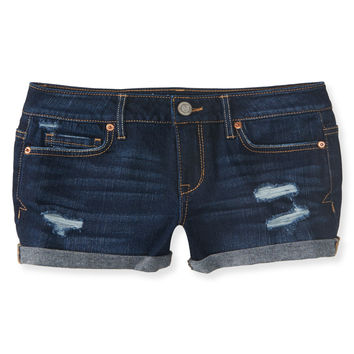 Aeropostale  Destroyed Dark Wash Denim Shorty Shorts