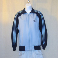 Vintage 80s ADIDAS Striped Athletic Women Small Medium Two-Tone Blue Zip Warm Up TRACK JACKET