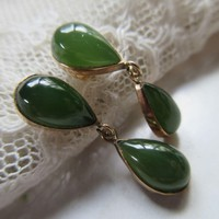 Vintage 14K Fine Estate Jade Pierced Drop Earrings