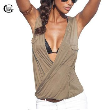 Lace Girl Sexy Women Casual Summer Tops 2016 Women Deep V Neck Blouse Sleeveless Solid Color Shirt Tee Double Pocket Plus Size