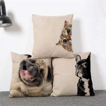 Laughing Pug Dog Cushion Cat Throw Pillow Funny Cat Lovely Dog Cotton Linen Pillows Square Home Euro Decorative HH049