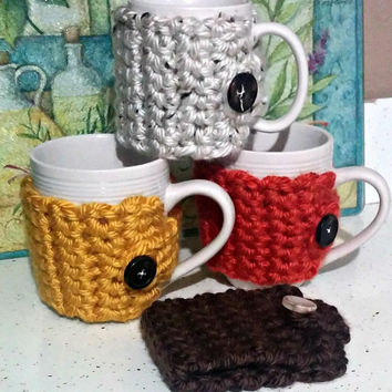 Crocheted Coffee Cozy, Tea Sleeve, Coffee Cup Cozy with Button, Chunky Crochet Cozy, Teacher Gift, Mug Cozy