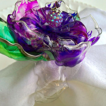 Purple Napkin Ring Set, Home decor, flower with green leaves, matching caketopper or centerpiece available, purple wedding decor