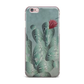 "Angelo Cerantola ""Hummingbird And Cactus"" Green Red Animals Floral Illustration Painting iPhone Case"