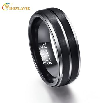 Party Ring Round Silver Black Men Rings Tungsten Carbide Wedding Bands Anillos para hombres Male Pierscienie