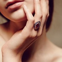 Sapphire and Smoky Quartz Marquis Ring in 14k Rose Gold by Arik Kastan Dark Grey