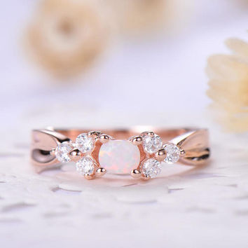 opal engagement ring rose gold or sterling silver with Man made diamond CZ