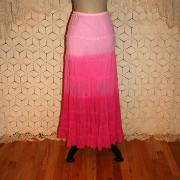 Pink Ombre Skirt Hippie Tie Dye Maxi Skirt Boho Beach Skirt Cotton Hippie Clothing Boho Clothing Long Pink Skirt Small Medium Women Clothing