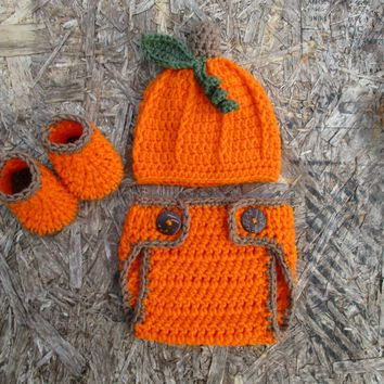 Newborn Pumpkin Outfit Baby Halloween Photo Outfit