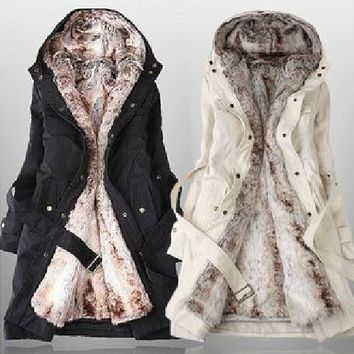 Brand New Faux Fur Winter Warm Hood Long Jacket Coat