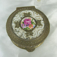 Vintage Trinket Box Vanity Rose Porcelain White Enamel Metal Ornate Footed Velvet Lined Japan