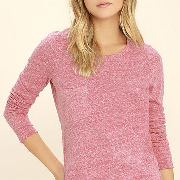 Shiloh Heather Red Long Sleeve Top