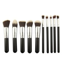 MeGooDo 10 Pcs Powder Blush Foundation Contour Makeup Brushes Set Cosmetic Tool (black_silver)