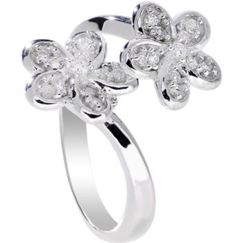 925 Sterling Silver Clear CZ Twin Flower Toe Ring | Body Candy Body Jewelry