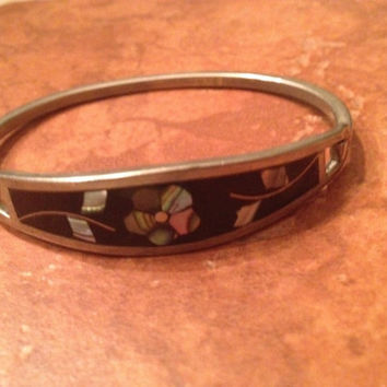 Vintage Mexican Bracelet Black with abalone Flower Inlay Mexico Jewelry