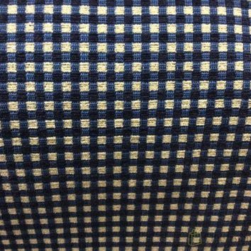 Chenille Navy Blue and White Check Fabric