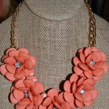 Coral Crystal Blooming Necklace