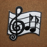Iron On  Patch Harnessing Music Notation Embroidered Applique Size 6.6x7cm.