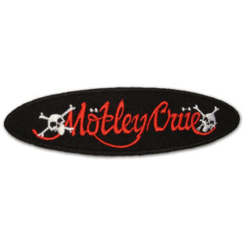 Motley Crue Oval Patch, Embroidered Skeletons NEW