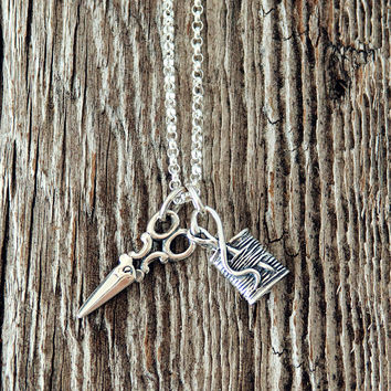 Scissors and Spool of Thread Charm Necklace