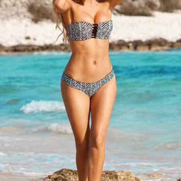 Black Linear Print Strapless Bandeau High-Waisted Bikini